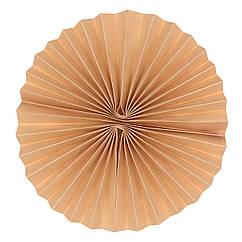 Бумажный веер из картона 15 см персиковый