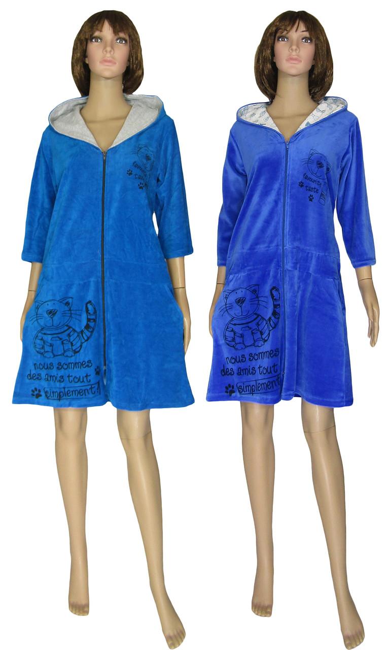 Халат женский велюровый с капюшоном 18044 Simple Cat Синий
