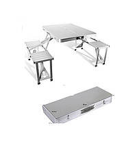 Алюминиевый складной ручной столик для пикника на 4 места | Стол-чемодан Folding Picnic Table, фото 3