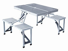 Алюминиевый складной ручной столик для пикника на 4 места | Стол-чемодан Folding Picnic Table, фото 2