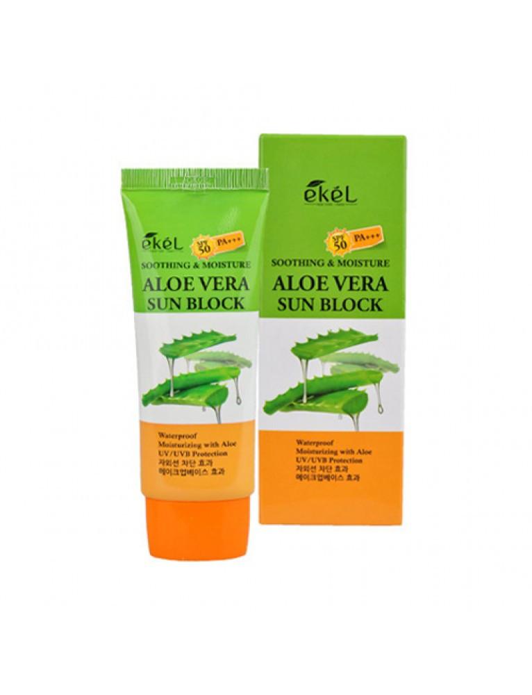 Увлажняющий солнцезащитный крем с экстрактом алое EKEL UV Aloe Vera Sun Block SPF 50+/PA+++, 70 мл