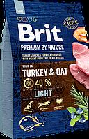Сухой корм Brit Premium Light для взрослых собак, низкокалорийный c индюшатиной 15КГ