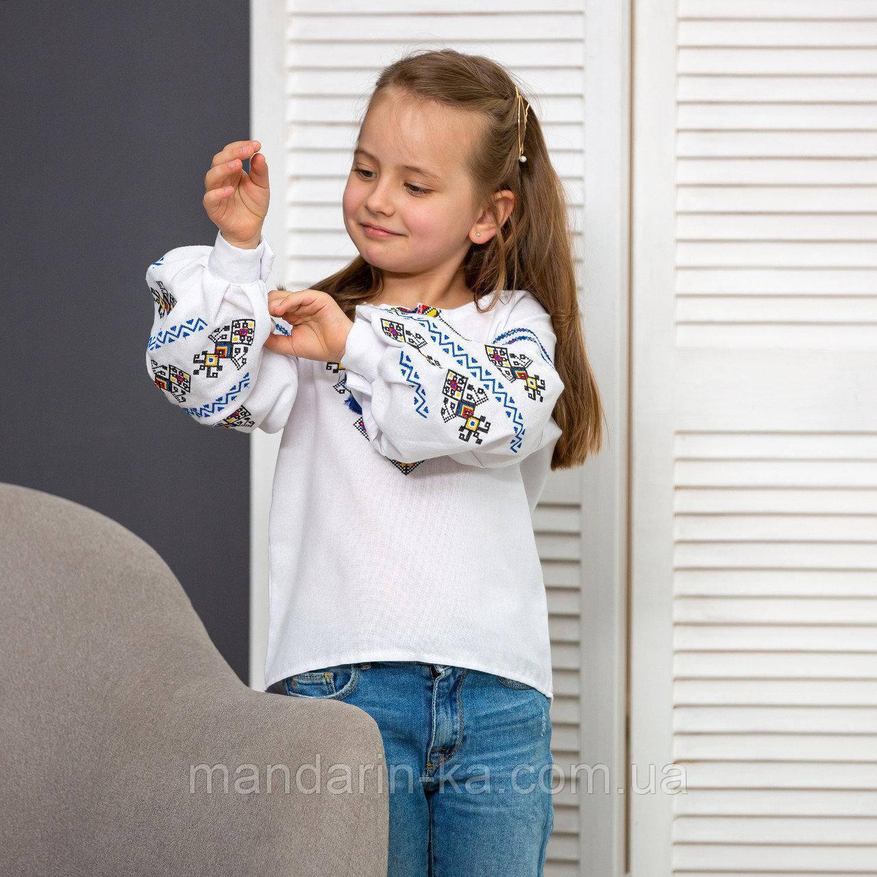Вышиванка для девочки Доля на домотканой ткани