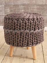 Пуф круглый на ножках HANDMADE KAHVE MELANJ 40x45х40х15см коричневый меланж