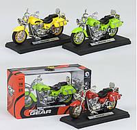 Мотоцикл металлопластик, цвет зеленый, свет, звук, 1шт в коробке