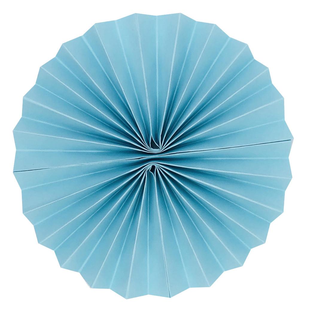 Плотный бумажный веер 25 см нежно-голубой