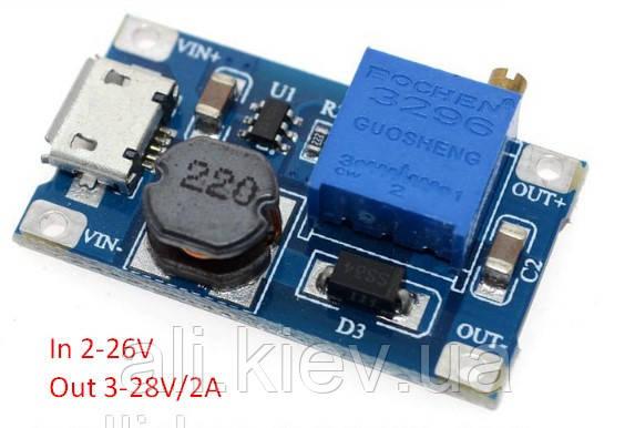 Повышающий преобразователь 3-28B/2A с регулировкой вых напряжения MT3608 Micro USB