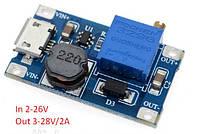 Повышающий преобразователь 3-28B/2A с регулировкой вых напряжения MT3608 Micro USB , фото 1