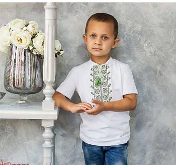 Футболка вышиванка на мальчика с зеленым орнаментом / размер 86,92,108,104,110,116,122,128,134,146