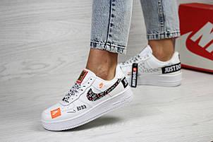 Подростковые, женские кроссовки Nike air force 1 Just Do It,белые с черным, фото 2