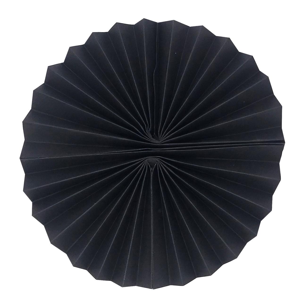 Віяло паперовий 25 см чорний