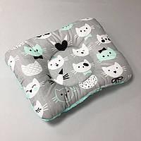 """Двусторонняя детская ортопедическая подушка """"Коты"""" с мятным плюшем, фото 1"""