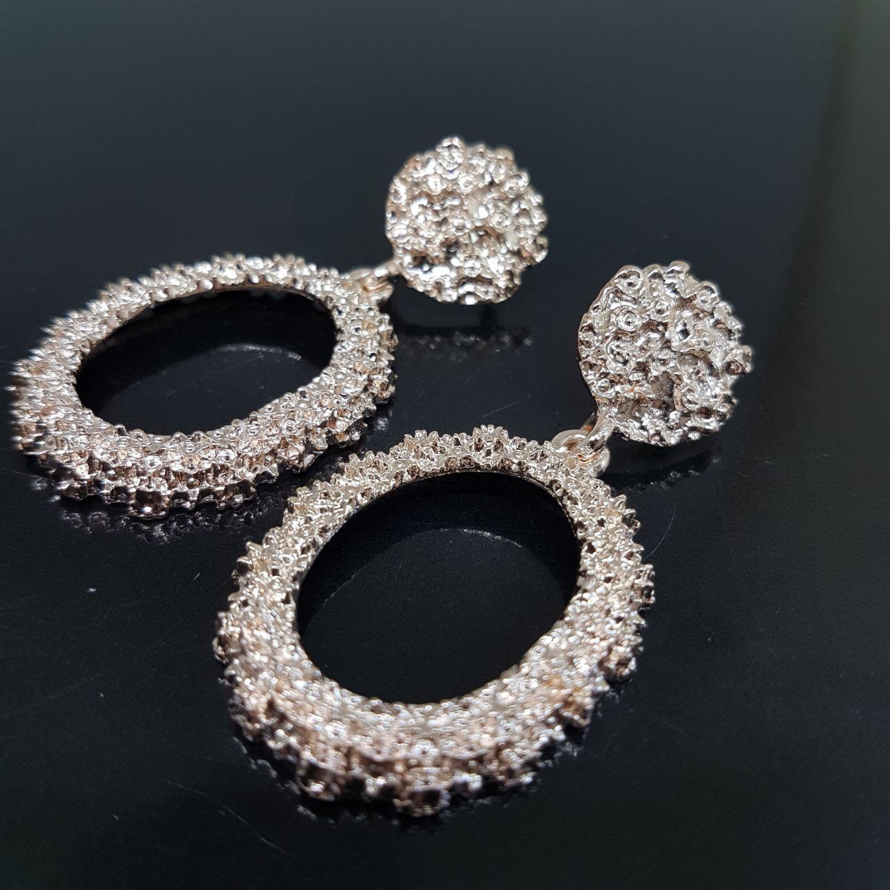 Серьги женские овальные в стиле Zara розовое золото (Vit-oval-pin-gol)
