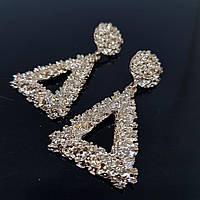 Серьги женские треугольные в стиле Zara золото (Vit-treug-gold)