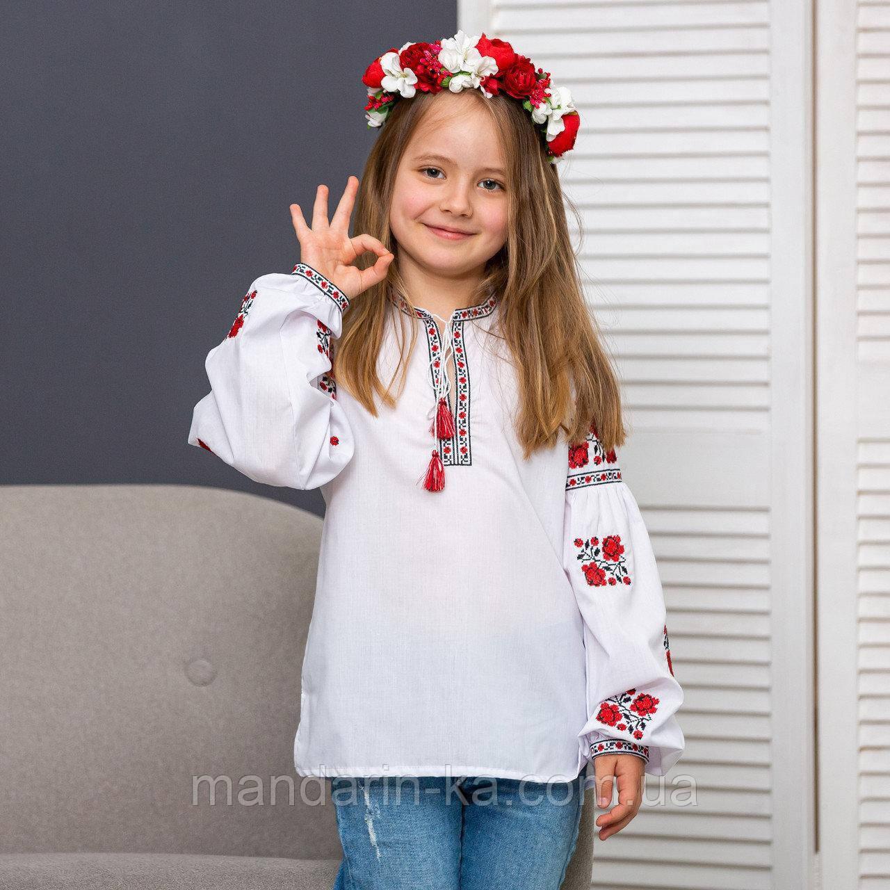 Вышиванка для девочки нежные  розочки