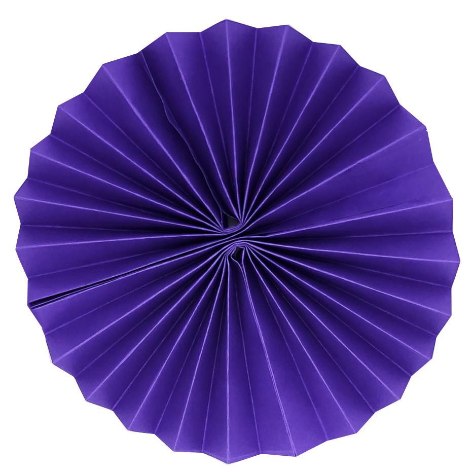 Паперовий віяло з картону 35 см фіолетовий