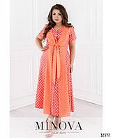 Вискозное летнее платье в пол в крупный горох (размеры 54-64)