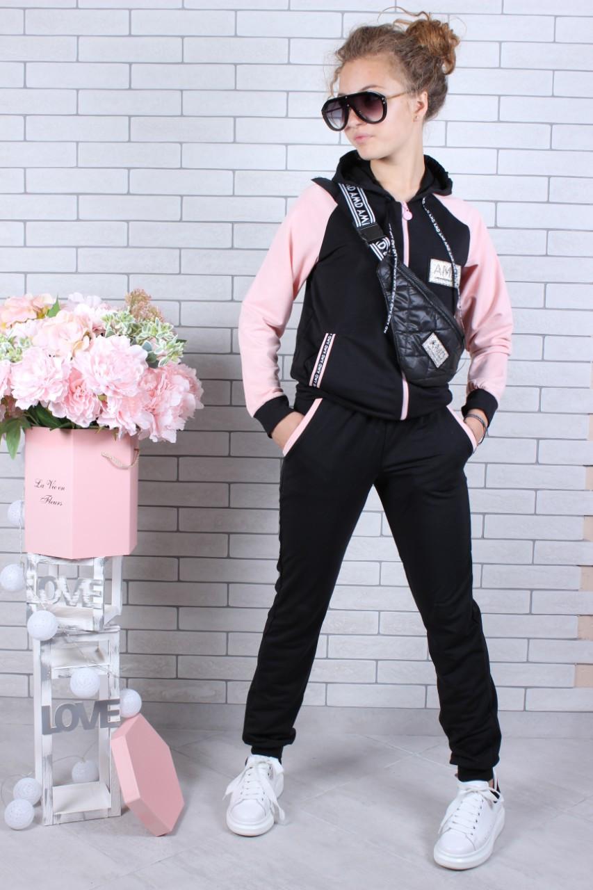 Спортивный костюм с сумкой для девочки пудра р. 134-164 опт