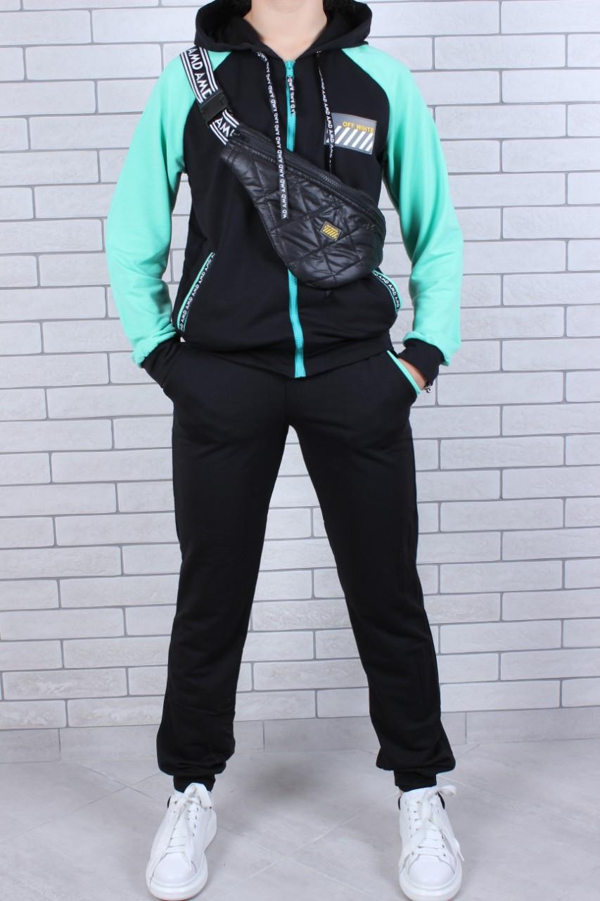 Подростковый спортивный костюм с сумкой для девочки мята  р. 134-164 опт