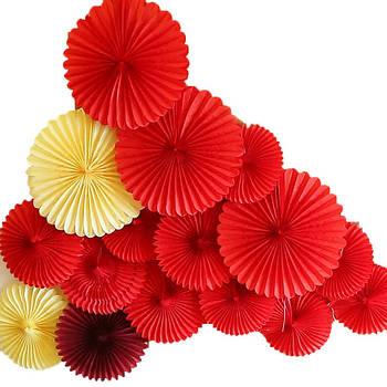 Веера из цветной бумаги 25 см