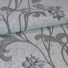 Обои, на стену, винил на флизе, B109 Аида, цветок,  есть пара, К501 - 10, серый к черному, 1,06*10м