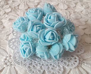 Розы латексные с фатином голубые, голубые розы, букет розочек, розы голубые фатин, букет 12 шт