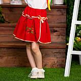 Юбка  красная с вышивкой  для  девочки, фото 2