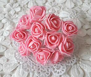 Розы лактесные с фатином розовые, розовые розы, букет латесных розочек, розы розовые фатин, букет 12 шт