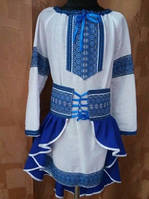 """Вышитый украинский костюм для девочки """"Синий хвостик"""""""