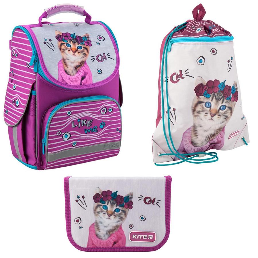 Набор первоклассника для девочки Рюкзак, сумка для обуви, пенал Kite Rachael Hale 500