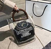 Женская прозрачная сумка Boutique с мешочком черная