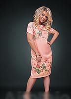 Платье льняное с принтом, с 48-58 размер, фото 1