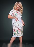 Платье льняное с цветочным принтом, с 48-58 размер, фото 1