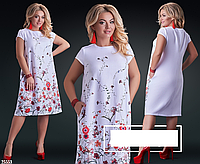 Платье льняное с цветочным принтом, белое с 48-58 размер, фото 1