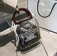 Женская прозрачная сумка Boutique с мешочком золотая, фото 1