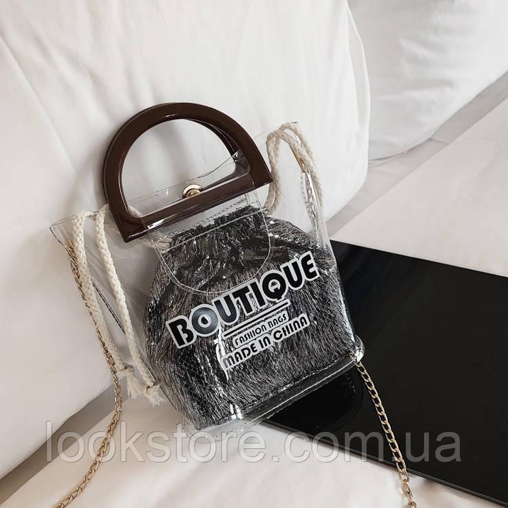 Женская прозрачная сумка Boutique с мешочком серебро