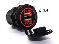 Автомобильное зарядное 2хUSB (12 В) с красной подсветкой / врезная розетка / адаптер питания USB