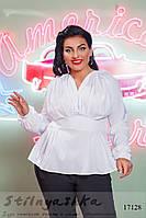 Трендовая блузка для полных белая, фото 1