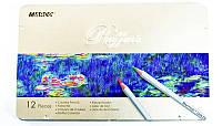 Карандаши  12 цветов  MARCO super writer №7100 -12ТN металлическая коробка