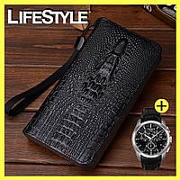 Мужской кошелек, клатч, портмоне Aligator + Подарок, фото 1