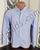 Однотонна сорочка для хлопчика 116-146 см(опт) (блакитна) (пр. Туреччина)