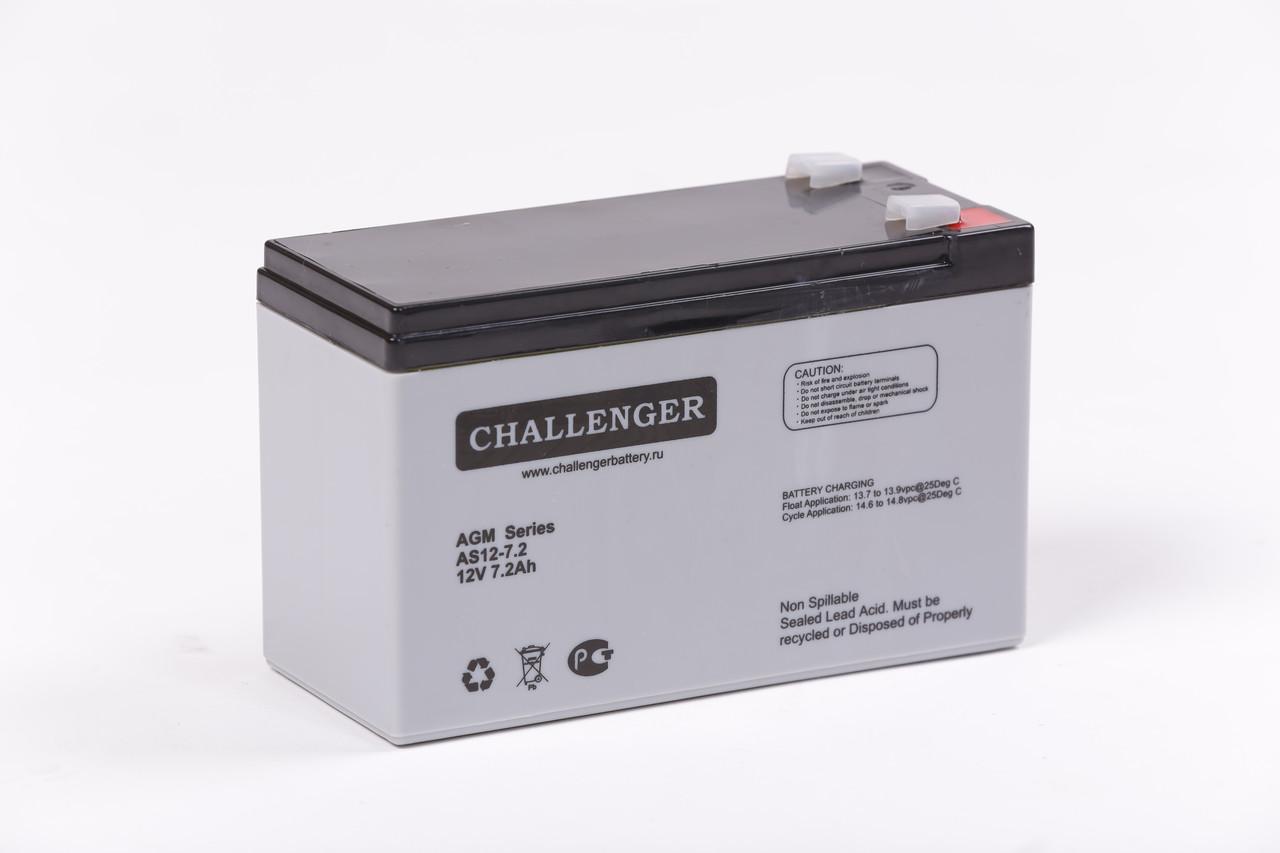 Аккумулятор AGM - 7.2 Ач, 12В гелевый Challenger AS12-7.2