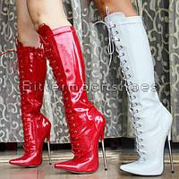 Лакированные шнуровка сапоги каблук 18 см  размер 35-46  3 цвета