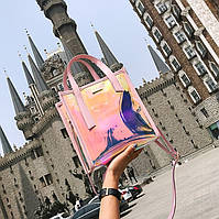 Женская летняя прозрачная сумка Jelli розовая, фото 1