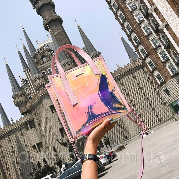 Женская летняя прозрачная сумка Jelli розовая
