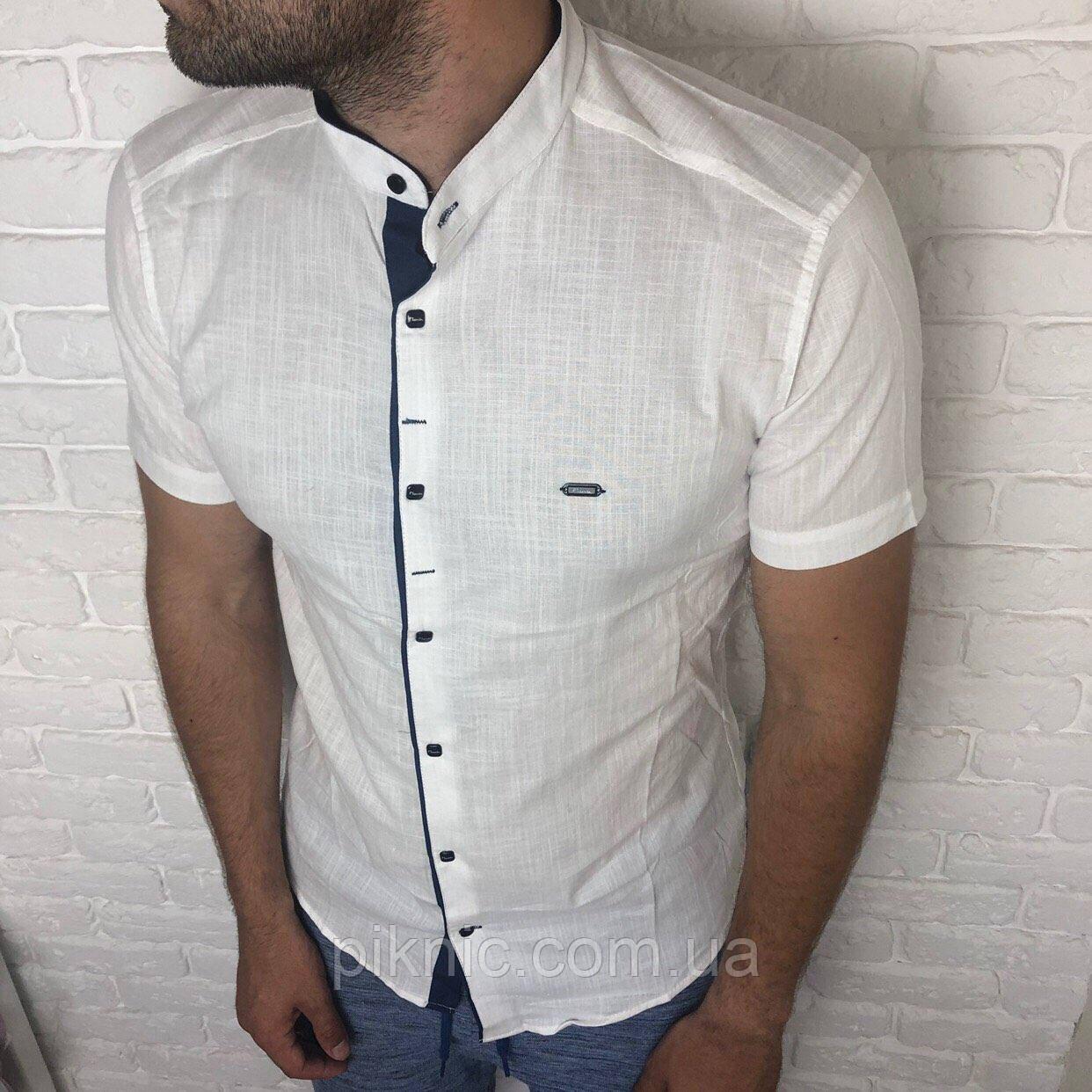 Рубашка мужская L, XL приталенная, короткий рукав, слим фит Турция турецкая, лен Белый