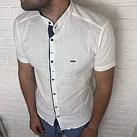 Рубашка мужская L, XL, XXL приталенная, короткий рукав, слим фит Турция турецкая, лен Белый