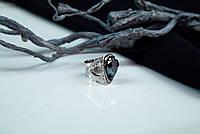 Авторское кольцо из серебра 925 пробы с необработанным камнем гранат чёрный андрадит