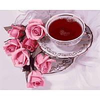 "Картина по номерам, картина-раскраска ""Чашка кофе и розы""  40Х50см VP737"
