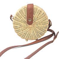 Круглая соломенная сумка Бали из ротанга на ремешке и кнопке su34500